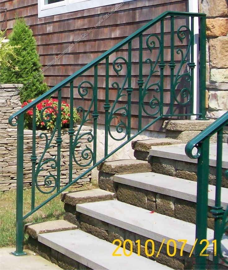 Front Porch, : Attractive Green Iron Front Porch Railing Along With Stone Front Porch Staircase Step For Front Porch Decoration