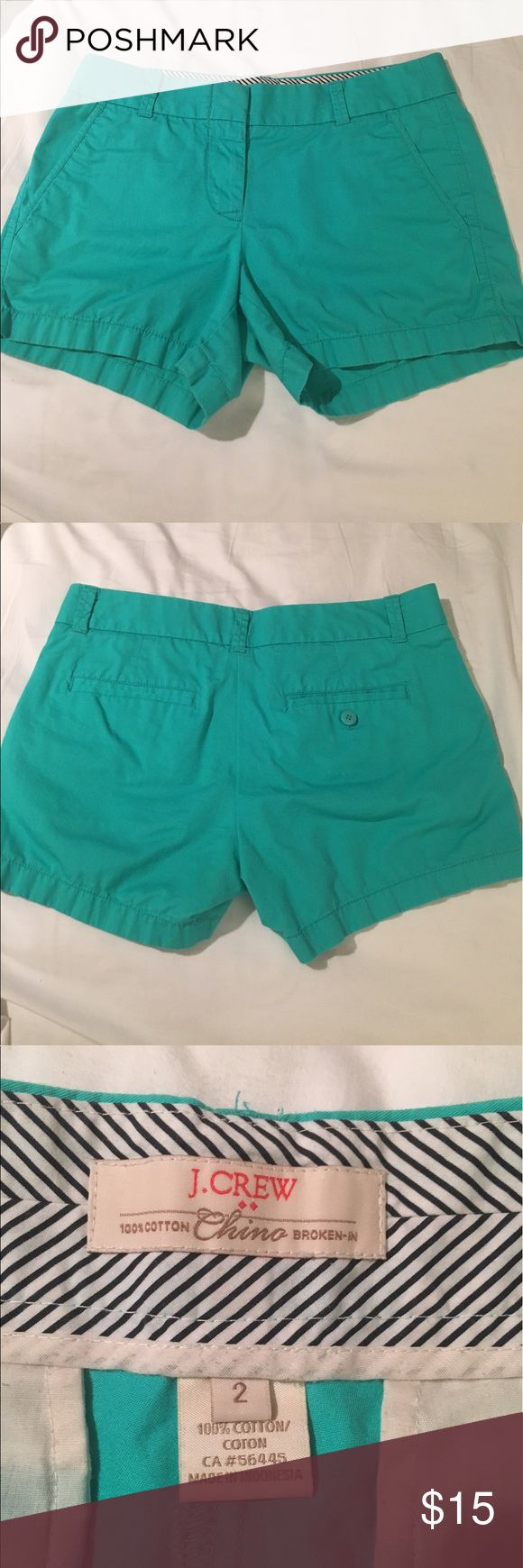 """J. Crew Chino Short These aqua shorts scream summertime! The 3"""" inseam and """"broken in"""" design make them super comfy. No visible signs of wear. Make me an offer, and don't forget you can bundle for a discount! :) J. Crew Shorts"""