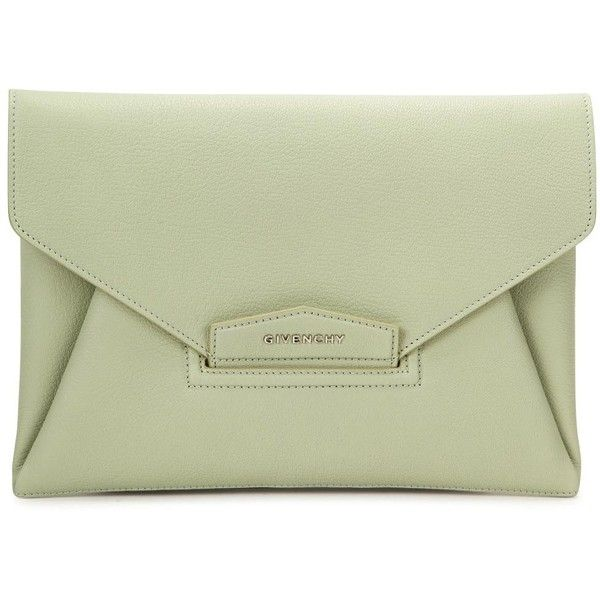 Givenchy Antigona Mint Leather Clutch ($440) ❤ liked on Polyvore featuring bags, handbags, clutches, bolsos, mint handbag, genuine leather purse, green handbags, mint purse and mint green leather handbag