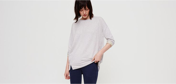 This is the fabric that started it all. Feels like the most luxurious cashmere combined with your favorite sweatshirt. Wrap yourself up and say, ahhhhh. Crew neck. Drop shoulders. Long sleeves. Forward side seams with slits. Ribbed elliptical hem.