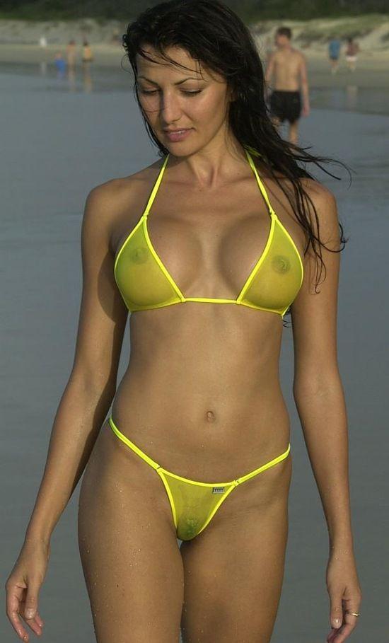 See bikini nude through