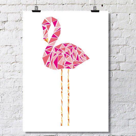 Geometryczny kształt Pink Flamingo plakat
