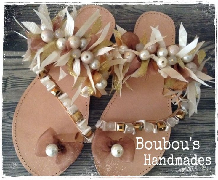 Handmade leather sandals! White, gold and I our ribbons, pearls, gold beads....! Being Chic is everything! DIY