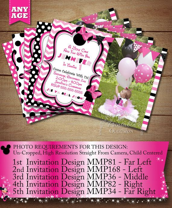 HUGE SELECTION Minnie Mouse Invitation, Pink Chevron Birthday Minnie Invitation, Zebra Minnie mouse, Minnie Mouse Birthday, Photo Invitation on Etsy, $15.00