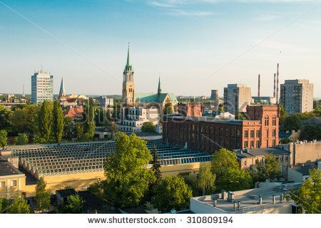 Late evening panorama of city of Lodz, Poland, Europe