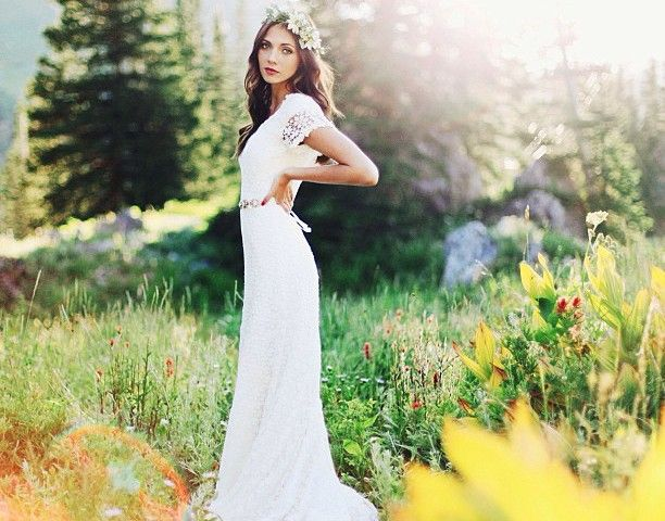 Awesome crochet lace with flutter sleeves Alta Moda bridal boutique This is one of my favorites