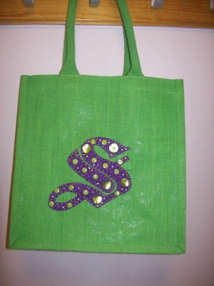 """""""S"""" Medium Luxury Unique Bespoke Hand Embellished Jute Bag."""