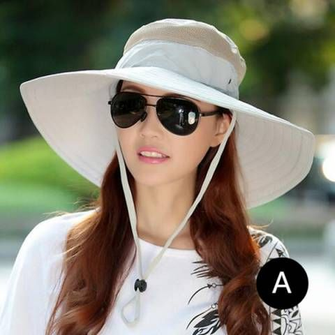 Wide brim bucket hat with string for women outdoor foldable sun hats