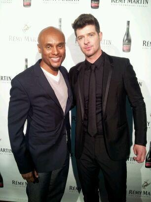 Me and Robin Thicke on the red carpet