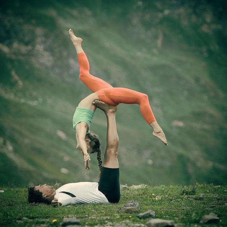 """""""the body says what words cannot"""" - Martha Graham  Pic  Alex Van Schimpf Flyer  @acroyogaballerina  Base  @eugeneveganbutcher  #acroyoga #switzerland #acroyogadance"""
