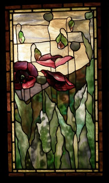 Two Flower Windows Detail, from the Smith Museum of Stained Glass Windows, Chicago. Poppies always remind me of my Gma Anderson.