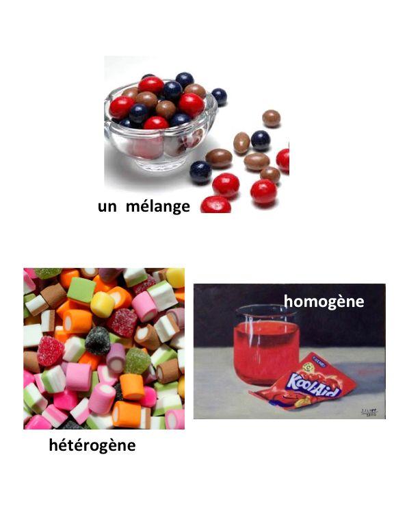 un  mélange, hétérogène, homogène