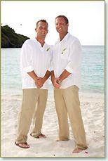 guy's attire - white shirt, khaki pants, flip flops for the perfect beach wedding