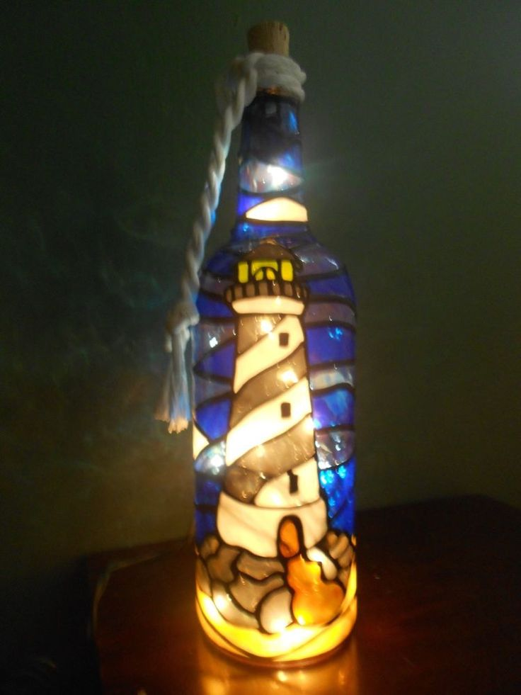 Hand Painted Lighted Wine Bottle Lighthouse Design