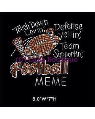 Football MeMe rhinestone iron on heat transfer - touch down lovin football appliqué for shirts - grandma hot fix motif  on Etsy, $9.99