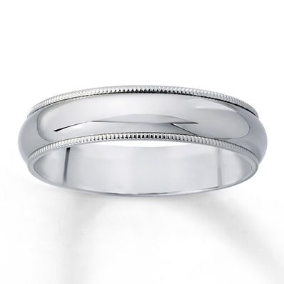 Love this one. Men's Wedding Band Milgrain Finish 14K White Gold. $500