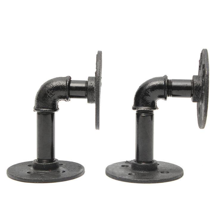best 25 pipe shelf brackets ideas on pinterest industrial shelves diy pipe shelves and. Black Bedroom Furniture Sets. Home Design Ideas