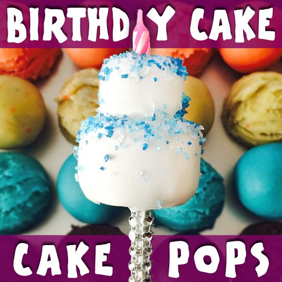 Bite Sized Birthday Cakes On a Stick: The perfect bite-sized birthday treat! Learn step-by-step how to make cake pops that look like mini birthday cakes. ~ Sugarkissed.net