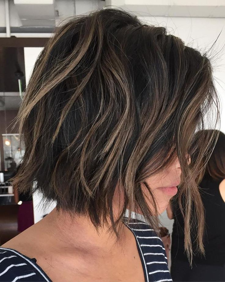Brown+Choppy+Bob+With+Highlights