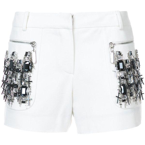 Thomas Wylde Prism shorts (30,255 MXN) ❤ liked on Polyvore featuring shorts, white, thomas wylde, short shorts, white short shorts and white shorts