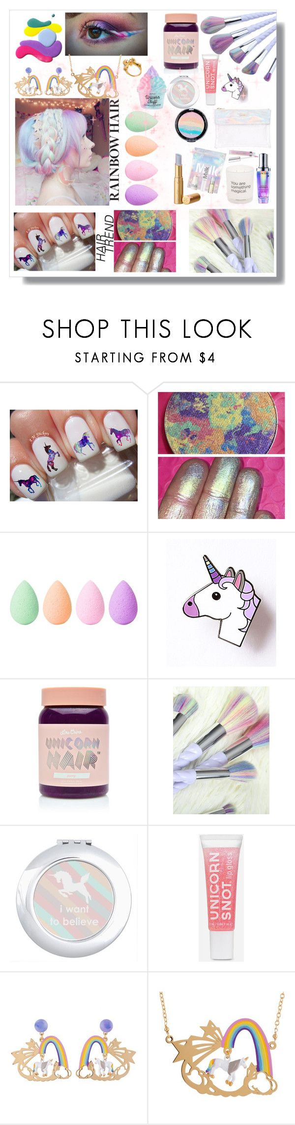 """Unicorn Makeup & Rainbow Hair"" by maloley-johnson ❤ liked on Polyvore featuring beauty, beautyblender, Lime Crime, Les Néréides and Me & Zena"