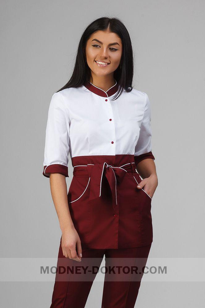 17099240e95 Женский медицинский костюм (белый бордо вставки)
