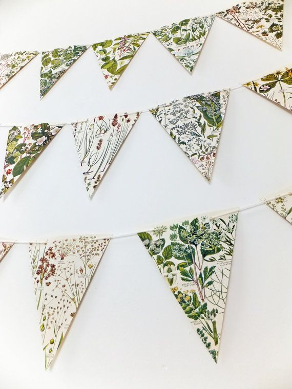 Botanical Bunting recycled Garland eco-friendly by PeonyandThistle