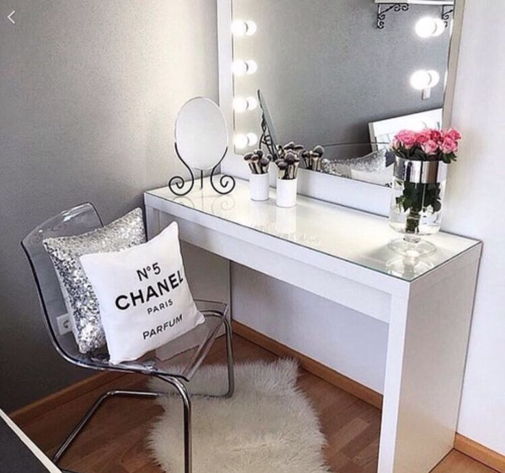 Cute white Chanel room makeup table