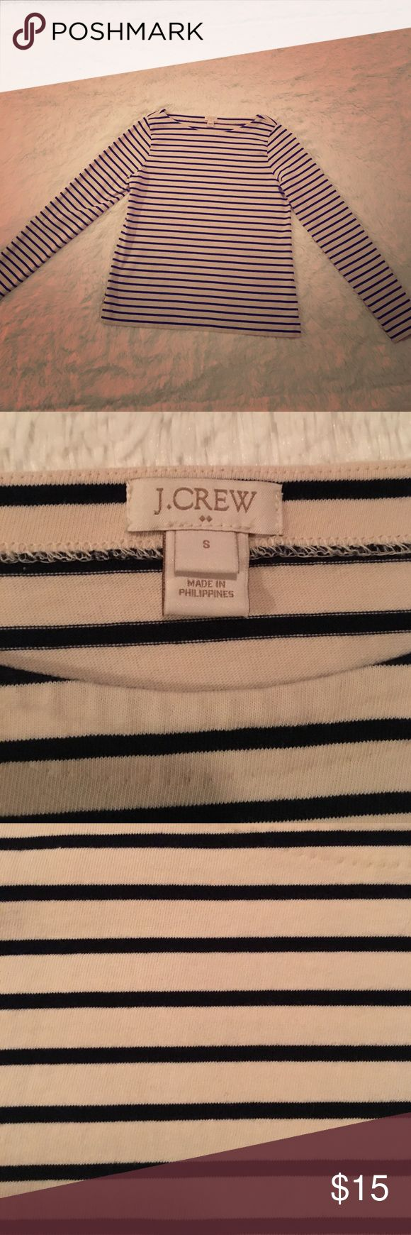 J.Crew Long-Sleeve Navy Striped Boat-Neck shirt Worn only once because I live in Florida and it is always too warm to wear. This is not a light flimsy t-shirt material. It is thicker and better for cooler temperatures J. Crew Sweaters Crew & Scoop Necks