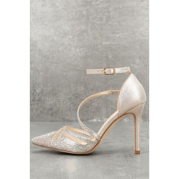 De Blossom  Warren Champagne Rhinestone Ankle Strap Heels ($65) ❤ liked on Polyvore featuring shoes, pumps, gold, clear high heel shoes, off white pumps, strappy stilettos, clear stilettos and clear pumps