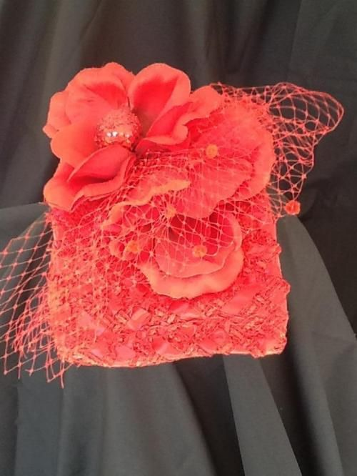 Square Red Cocktail Hat