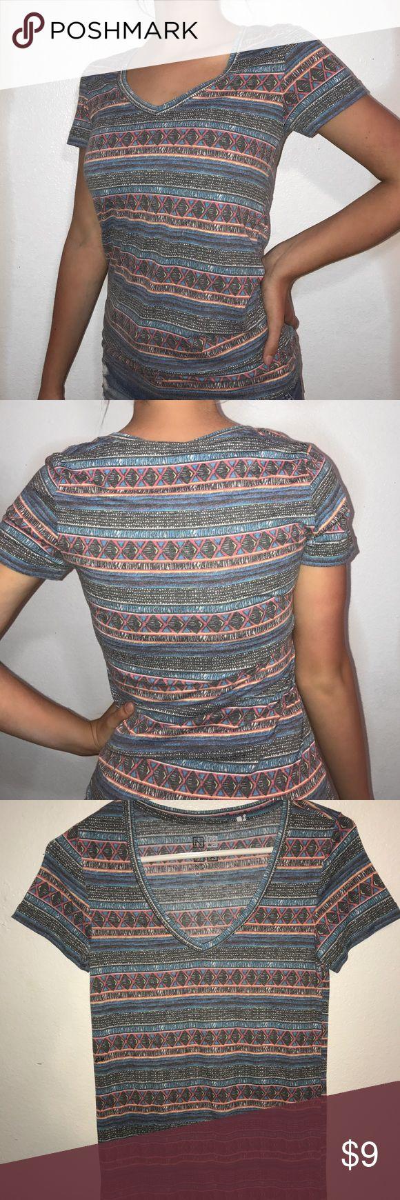 Colorful Aztec pattern top-pacsun Pacsun V-neck, Aztec pattern, short sleeve top. Nollie Tops Tees - Short Sleeve