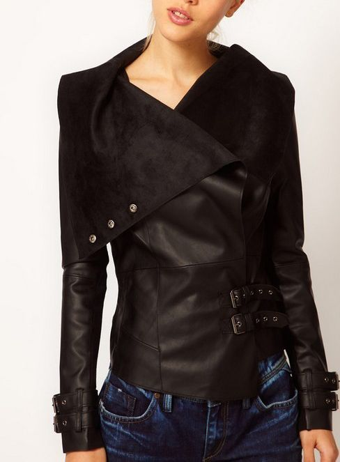 Black Leather Jacket Short Slim Fit Punk Biker Coat With Lapel Collar WC096