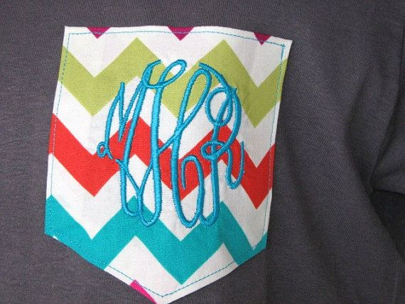 Monogrammed Chevron Pocket T Shirt  Pocket by KaliesKids on Etsy, $18.00 Would love one of these.