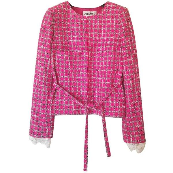 Pre-owned Tweed Jacket (€1.585) ❤ liked on Polyvore featuring outerwear, jackets, pink, women clothing jackets, chanel, pink tweed jackets, tweed jacket, chanel jacket and pink jacket