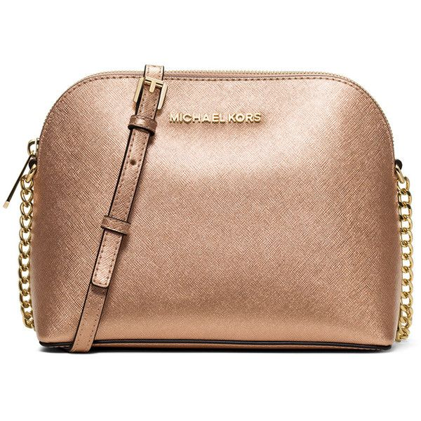 MICHAEL Michael Kors Cindy Large Dome Crossbody Bag ($180) ❤ liked on Polyvore featuring bags, handbags, shoulder bags, pale gold, beige handbags, michael michael kors, metallic crossbody, crossbody purse and chain crossbody