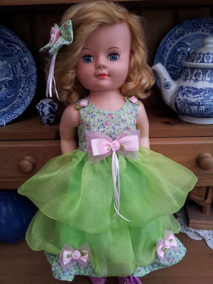 Lime green Organza Double Layered dress with ditsy floral cotton and roses and bow trim - from my website:  http://salstuffdolls.wordpress.com/vintage-doll-clothes/