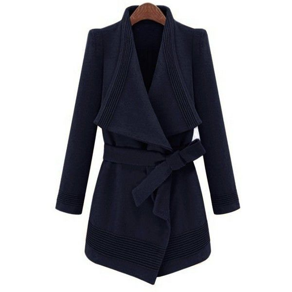 Yoins Yoins Waterfall Trench Coat ($58) ❤ liked on Polyvore featuring outerwear, coats, coats & jackets, navy, lapel coat, waterfall coat, belted coat, navy blue coat and blue trench coat