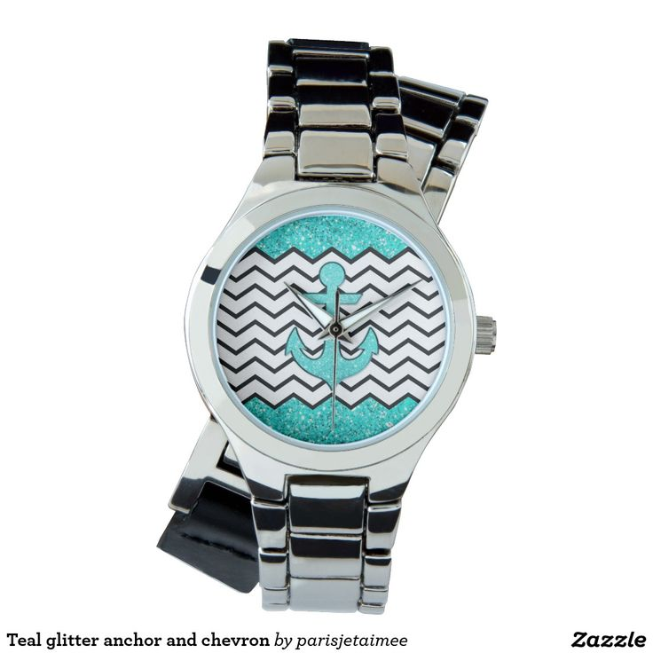 #anchor #glitter #chevron #girly Teal glitter anchor and chevron wristwatches