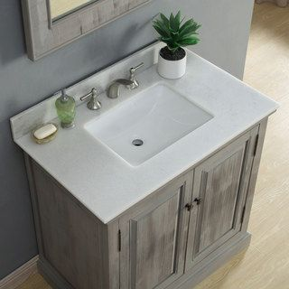 Shop for Infurniture Rustic-style 36-inch Single Sink Bathroom Vanity with Carrera White Marble Top. Get free delivery at Overstock.com - Your Online Furniture Outlet Store! Get 5% in rewards with Club O! - 22730354