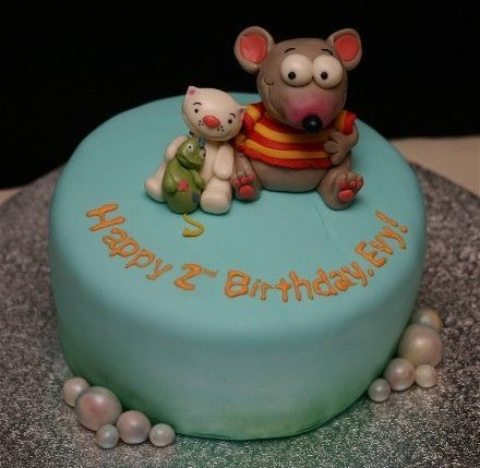 I don't know how many of you viewing would know of these characters, but they are Toopy and Binoo from Quebec, I believe. Rat and a cat or something like that... This cake was made for my friend's son's 2nd birthday who is nuts about these weird guys! All figures are made of mmf. Thanks for viewing!