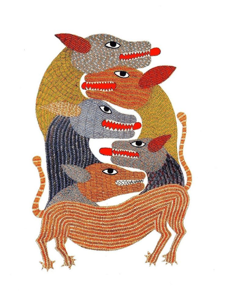Gond Glyphs. Challenge design students to create a pattern of interlocking animal forms and patterns. As informational resources, read about this unique art form and the indigenous people of India who create them (& see other examples & resources) on the BibliOdyssey website.