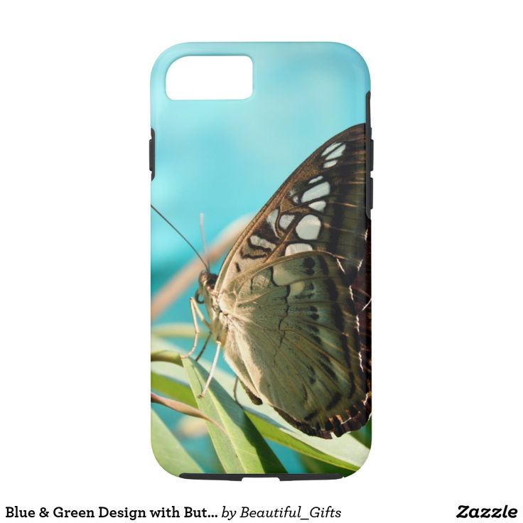 Blue & Green Design with Butterfly iPhone 7 Case
