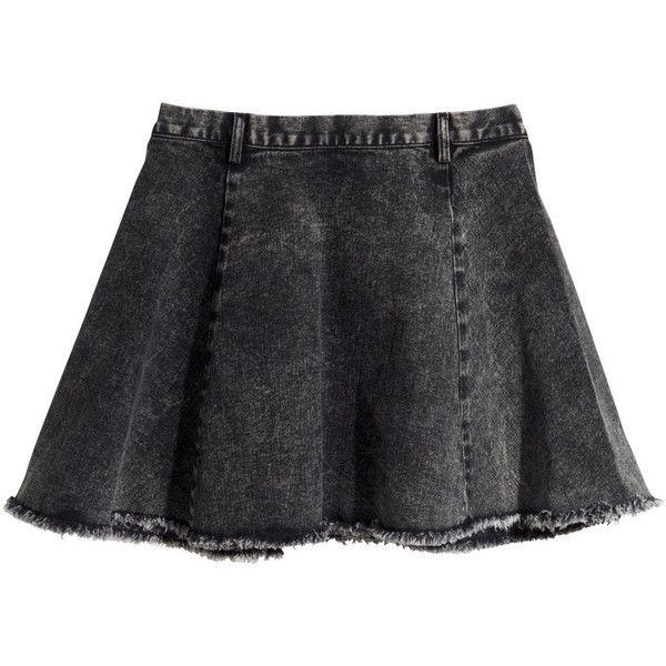 H&M Denim skirt (£5) found on Polyvore featuring women's fashion, skirts, mini skirts, bottoms, saias, faldas, black, short circle skirt, short denim skirts and denim circle skirt