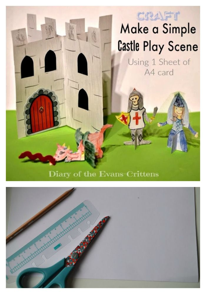 Make a simple play scene castle from a sheet of A4 card.