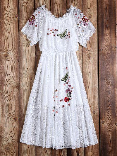SHARE & Get it FREE | Off Shoulder Embroidered Lace Dress - WhiteFor Fashion Lovers only:80,000+ Items • New Arrivals Daily Join Zaful: Get YOUR $50 NOW!