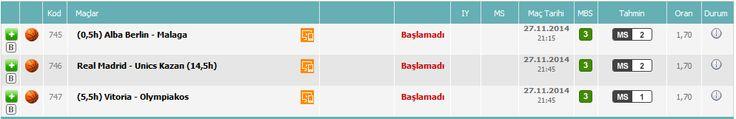 746 - Real Madrid - UNICS Kazan @ 2 +14,5 745 - ALBA Berlin - Unicaja Malaga @ 2 747 - Saski Baskonia SAD - Olympiakos @ 1 +5,5