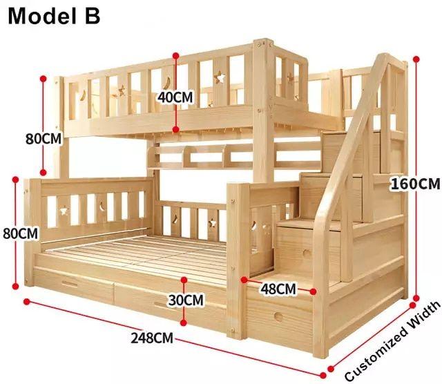Louis Mode Kinder Etagenbett Echte Kiefer Holz mit…