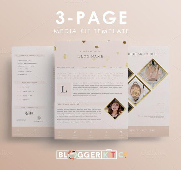 "3PG Media Kit | ""Blush & Bashful"" by Blogger Kit Co. on Creative Market"