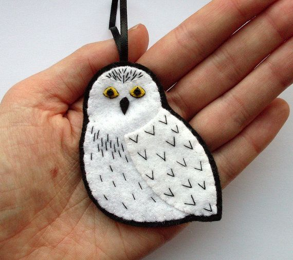 Snowy Owl felt bird ornament by lupin on Etsy, £12.00